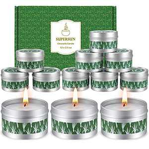 SUPERSUN 12 Citronella Candles Outdoors Large: 100% Soy Wax Garden Citronella Candle Set with 180-240 Hours Long Burn Hours for Outdoor Camping BBQ Patio Travel Indoors