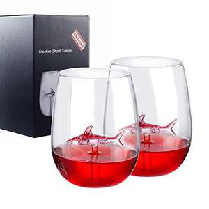Shark Wine Glass Set of 2, 300ml/10oz Clear Crystal Stemless Red Wine Glasses with Shark Inside Novelty Great Gift Packing For Women Men Party Wedding Birthday Celebration
