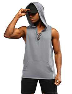 Men's Workout Hooded Tank Tops Sleeveless Gym Hoodie Cut Off T Shirt Lace-up Bodybuilding Muscle Hoodie Grey XL