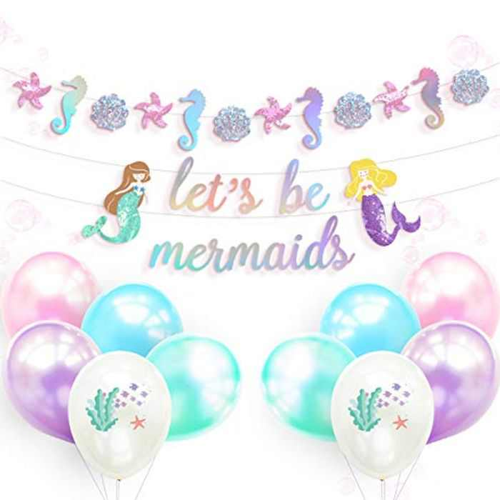 NICROLANDEE Mermaid Birthday Party Decorations - Pre-Assembled Glitter Mermaid Banner Let's Be Mermaid Garland Latex Balloons Set for Girl's Birthday Party Baby Shower Under The Sea Theme Party