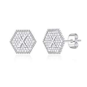 Letter Initial Stud Earrings for Women, S925 Sterling Silver Post Hexagon Letter X Stud Earrings Hypoallergenic Earrings for Sensitive Ears Girls Earrings for Women Girls Kids