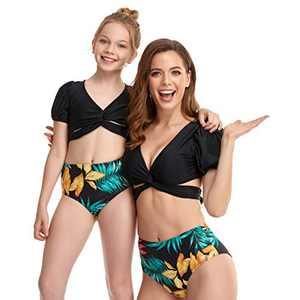 Matching Family Swimsuit Mommy and Me Puff Sleeve Swimwear Women Bikini Set Gilrs Bathing Suits Size 7-8 Years