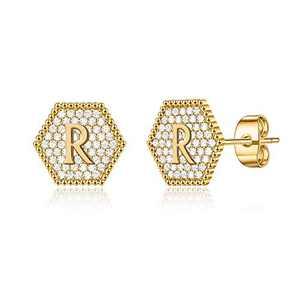 Kids Earrings for Girls Kids, Tiny S925 Sterling Silver Post 14K Gold Plated Girls Earrings Hypoallergenic Sensitive Alphabet Letter Stud Earrings for Toddler Kids Initial R Studs