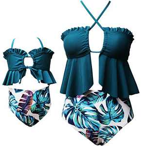 Women Swimsuit Matching Family High Waist Two Pieces Bikini Set Gilrs Ruffle Swimwear Bathing Suits Size 8-9 Years