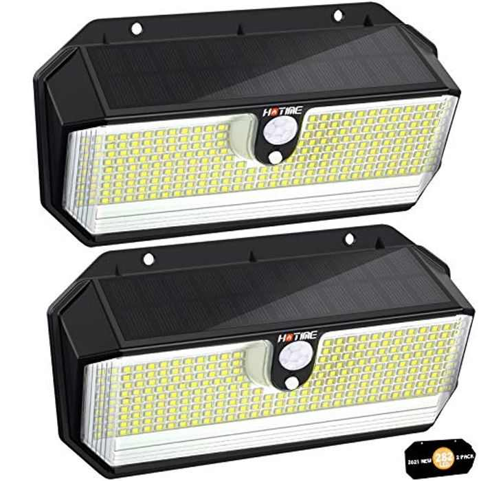 282 LED Solar Security Light, HOTIME 2600LM Brighter Wireless Solar Light, 2200mAh Powered Security Light with 3 Lighting Modes, 270° Wide Angle Illumination, IP65 Waterproof Sensor Light for Garden
