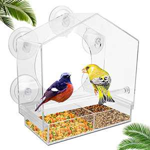 Window Bird Feeder - Large Bird House for Outside, with 5 Extra Strong Suction Cups, Removable Tray and Drainage Holes - Outdoor Feeders for Transparent Viewing