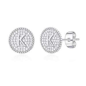 Initial Earrings for Girls Kids, S925 Sterling Silver Post White Gold Plated Letter K Initial Stud Earrings Cubic Zirconia Hypoallergenic Earrings for Girls Women Toddler Kids Jewelry Teen Girls Gifts