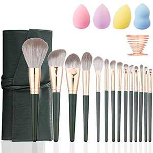 Makeup Brush Set With Case Bag Professional 14Pcs Premium Synthetic Makeup Brushes for Blending Foundation Powder Concealers Eye Shadows Blush Makeup Brushes Kits with 4 Makeup Sponges and 1 Sponge Holder