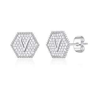 Girls Earrings Initial Stud Earrings, S925 Sterling Silver Post White GoLd Plated Dainty Girls Earrings Hypoallergenic CZ Letter V Initial Earrings for Girls Kids Earrings Jewelry Gifts
