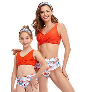 Mommy and Me Swimsuit Matching Family Two Pieces High Waist Gilrs Swimwear Kids Bathing Suits Size 5-6 Years Orange-Flower