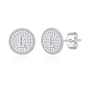 Initial Earrings for Girls Kids, S925 Sterling Silver Post White Gold Plated Letter L Initial Stud Earrings Hypoallergenic Cubic Zirconia Initial Earrings for Girls Women Toddler Kids Gifts