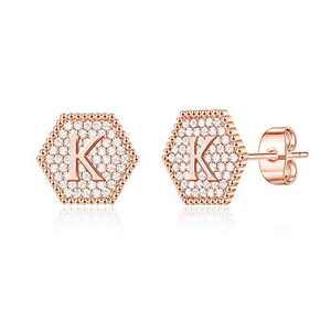 Initial Stud Earrings for Girls, Tiny S925 Sterling Silver 14K Rose GoLd Plated Girls Earrings CZ Hypoallergenic Sensitive Hexagon Alphabet Letter K Stud Earrings for Toddler Kids