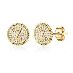 Initial Stud Earrings for Girls Women, S925 Sterling Silver Post 14K Gold Plated Hypoallergenic Sensitive Initial Earrings Cubic Zirconia Disc Alphabet Z Letter Stud Earrings for Toddler Kids