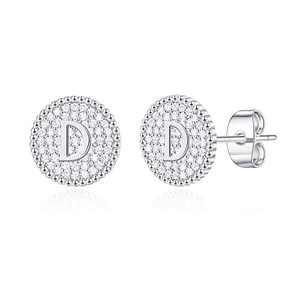 Disc Stud Earrings for Women Girls, White Gold Stud Earrings Letter D Initial Hypoallergenic Earrings for Women Mother's Day Valentines Gifts Toddler Kids Earrings for Girls Jewelry