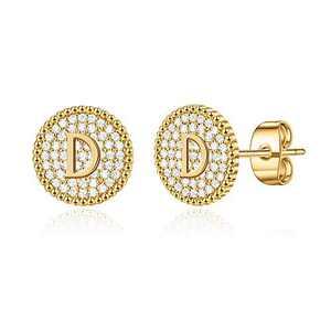 Disc Stud Earrings for Women Girls, Gold Stud Earrings Letter D Initial Hypoallergenic Earrings for Women Mother's Day Valentines Gifts Toddler Kids Earrings for Girls Jewelry