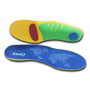 Conzy Arch Support Insoles, Plantar Fasciitis Insoles for Women and Men Shoes Inserts for Work Boot, Running Shoes, Gel Insoles for Pain Relief