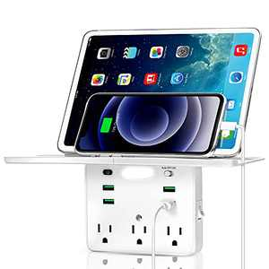 Socket Outlet Shelf, Wall Outlet Extender with Removable Shelf, Built-in Surge Protector & Night Light, Multi Plug Electric Outlet Extender with 4 USB Charging Ports & 3 AC Outlets