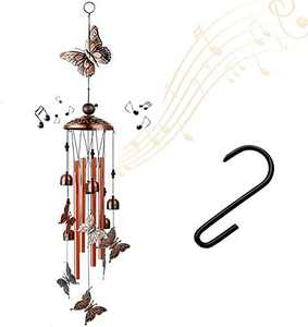 HOEYMIOA Outdoor Garden Decoration Wind Chimes, Butterfly Wind Chimes(4 Big Tubes and 6 Bells), Used for Outdoor, Garden, Indoor Gifts Wind Chimes, Gifts for Mother and Grandma (Butterfly)