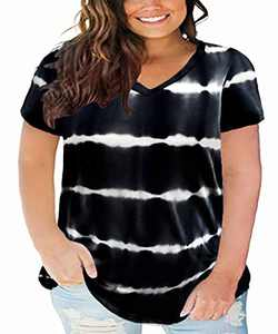 CARCOS Tie Dye Plus Size Tops for Women 3X Short Sleeve Black T Shirts V Neck Color Block Blouses Casual Loose Fit Tunics 3XL 22W 24W
