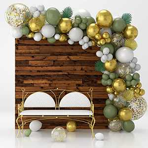 Olive Green Balloon Garland Arch Kit With White Gold Confetti Balloons, Gold Metallic Balloons & Decorative Leaves for Weddings, Birthday Balloons, Bridal and Baby Shower Decorations