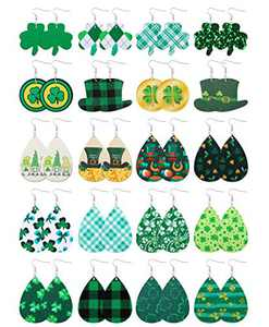 20PCS Faux Leather Earrings Set for Women Teardrop Drop Dangle Earrings Lightweight Dangle Earrings Set Honsny