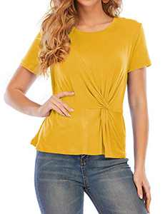 VZULY Womens Casual Tunic Tops Twist Knot Short Sleeve Pullover Shirts S Ginger