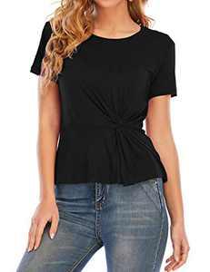Women's Casual Short Sleeve T-Shirt Tops Twist Knot Front Tunics L Black