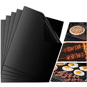 """UNIVERSESTAR Grilling Mats for Outdoor Grill Set of 5, Non-Stick Heavy Duty BBQ Mats - Reusable, Easy to Clean Baking Matte for Gas Charcoal Electric Barbecue (15.75"""" X 13"""", Black)"""