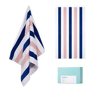 """WIIKWEEK 100% Cotton Soft Beach Towel 30"""" X 60""""- Oversized Lightweight Cabana Stripe Swim Towels, Quick Dry Pool Towels with High Absorbency(Blue and Orange)"""