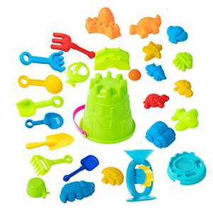 25Pieces Beach Sand Castle Toys Set- Beach Sand Toys Set Sand Castle Building Kit with Sand Buckets Shovels Sea Animal Molds Waterwheel for Kids Summer Outdoor Playing