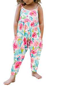 Toddler Little Girls Kids Playsuit Floral Harem Jumpsuit Sleeveless Summer Outfits Casual Clothes Size 5 6