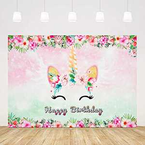Unicorn Happy Birthday Photography Backdrop, 3 x 5 ft Watercolor Floral Photo Background for Baby Newborn Girl Birthday Party Decoration Studio Props