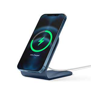 elago MS3 Charging Stand Compatible with MagSafe Charger - Durable Aluminum Phone Stand for FaceTime and Streaming, Compatible with iPhone 12 Models (Cable not Included) (Jean Indigo)