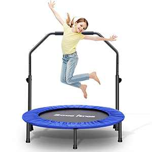 Bronze Times wolfyok 38 Inch Foldable Trampoline with Adjustable Handle and Safety Pad, Jumping Exercise for Indoor Outdoor Jumping Exercise Workout, Stable Quiet, Max 250 Lbs (Light Blue)