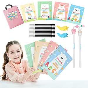 Magic Practice Copybook for Kids 10.8in×8.4in The Print Handwiriting Workbook Reusable Writing Practice Book for Preschools 4 books with pens and Pink bag