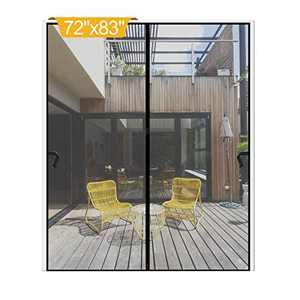 """Magnetic Screen Door 72 x 83 inch, DIXLAMN Magnet Screen Door Mosquito Door Net with Heavy Duty Fits Door Size up to 70""""x81"""" Max for Entry Door /Exterior Door /Interior Door /Kitchen Door/Patio Door"""