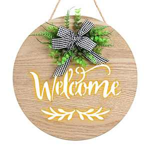 Welcome Sign for Front Door Decor,Welcome Sign Porch Decor with LED Light Welcome Round Hanging Sign Housewarming Gifts,Farmhouse Porch Decorations for Home,Garden,Yard,Bar(EXCLUDE Battery)