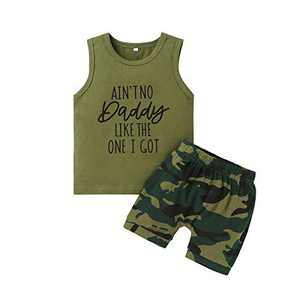 Baby Boy Clothes Ain T No Daddy Like The One I Got Vest Top + Toddler Boy Clothes Camouflage Short Baby Boy Outfits Gift 3 T - 4 T
