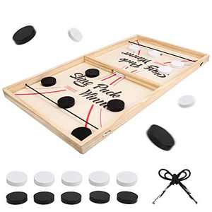 Fast Sling Puck Game, Large Size 22''Table Hockey Game for Kids and Adults,Desktop Slingshot Board Game for Family, Fossball Table Battle