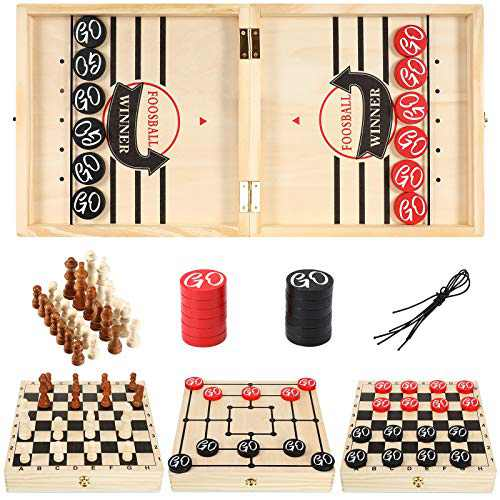 Skylety Large Fast Slingshot Board Puck Game, 4-in-1 Wooden Foldable Hockey Game, 23.6 x 11.8 Inch Table Desktop Battle Game for Checkers Chess Mill, Paced Winner Chess Board Game