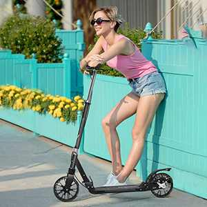 SUIKI Teen/Adult Kick Scooter, Foldable Kick Scooter with Adjustable Double Brakes, 20mm Widened Wheels, Non-Slip and Wear-Resistant Lightweight Scooter, Ride Commuter Scooter for Adult Kids
