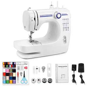 Nidouillet Mini Sewing Machine, Portable Automatic Sewing Machines with 12 Built-in Stitches,2 Speeds Double Thread,42 PCS Beginners Kit,Foot Pedal,Household DIY Sewing Tool AB218