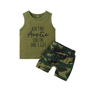 Toddler Boy Clothes Camo Ain T No Auntie Like The One I Got Vest Tops + Baby Boy Clothes Camouflag Short Baby Boy Outfit Gift 12 Months - 18 Months