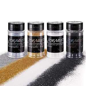 Holographic Glitter, 8 oz(2 oz Each) Metallic Glitter with Shaker Lid, Idemeet Epoxy Resin Glitter Extra Fine Glitter Dust for Craft Art Decor, Slime Glitter Makeup Glitter for Nail Body Eye, 4Colors