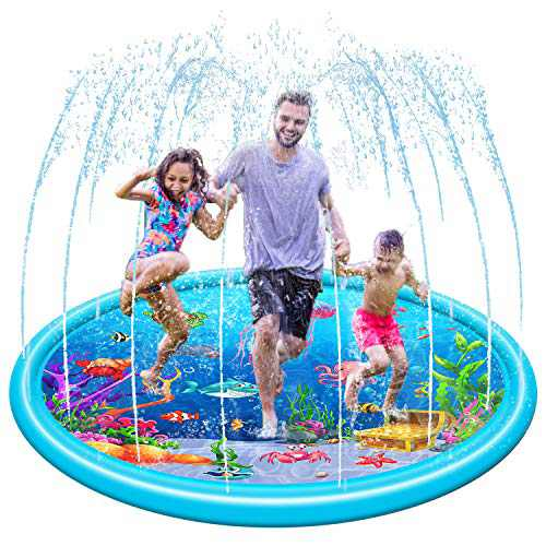 LeQi Sprinkler Splash Pad for Kids -(2021 New-Jellyfish) Baby Pool Outdoor Toys, Water Mat Inflatable Summer Toys for Toddler Boys and Girls …