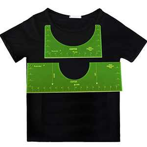 2 Pieces T-Shirt Alignment Tool T-Shirt Centering Ruler T-Shirt Alignment Template Ruler Sublimation T-Shirt Ruler Packing for Infant Toddler Youth Adult, 2 Sizes (Fluorescent)