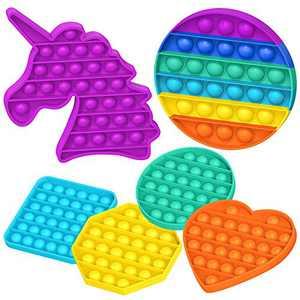 KOUQIYA Push Pop Bubble Sensory Fidget Toys , 6 Pack Fidget Toys Set Squeeze Desk Toys for Stress Relief Anti-Anxiety Unicorn Heart Circle Round Square Octagon