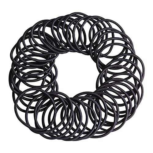 SOPHIE LENA Black Elastic Hair Ties,80 Pieces No Crease Hair Bands,Elastic Hair Bands for Women Girls(4mm)