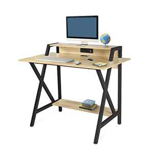 R-Shaped Black Gaming Desk 41 inch for Gaming with USB Charging Port,Bottom Shelf and Wire Take-up Hole Gaming Table (Beige and Black)