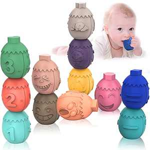 Baby Blocks Toys, Soft Montessori Sensory Stacking Egg Toys with Numbers Shapes Animals Expression, Educational Infant Teether Toys for 6 9 Month 1 2 3 Years Old, 12PCS